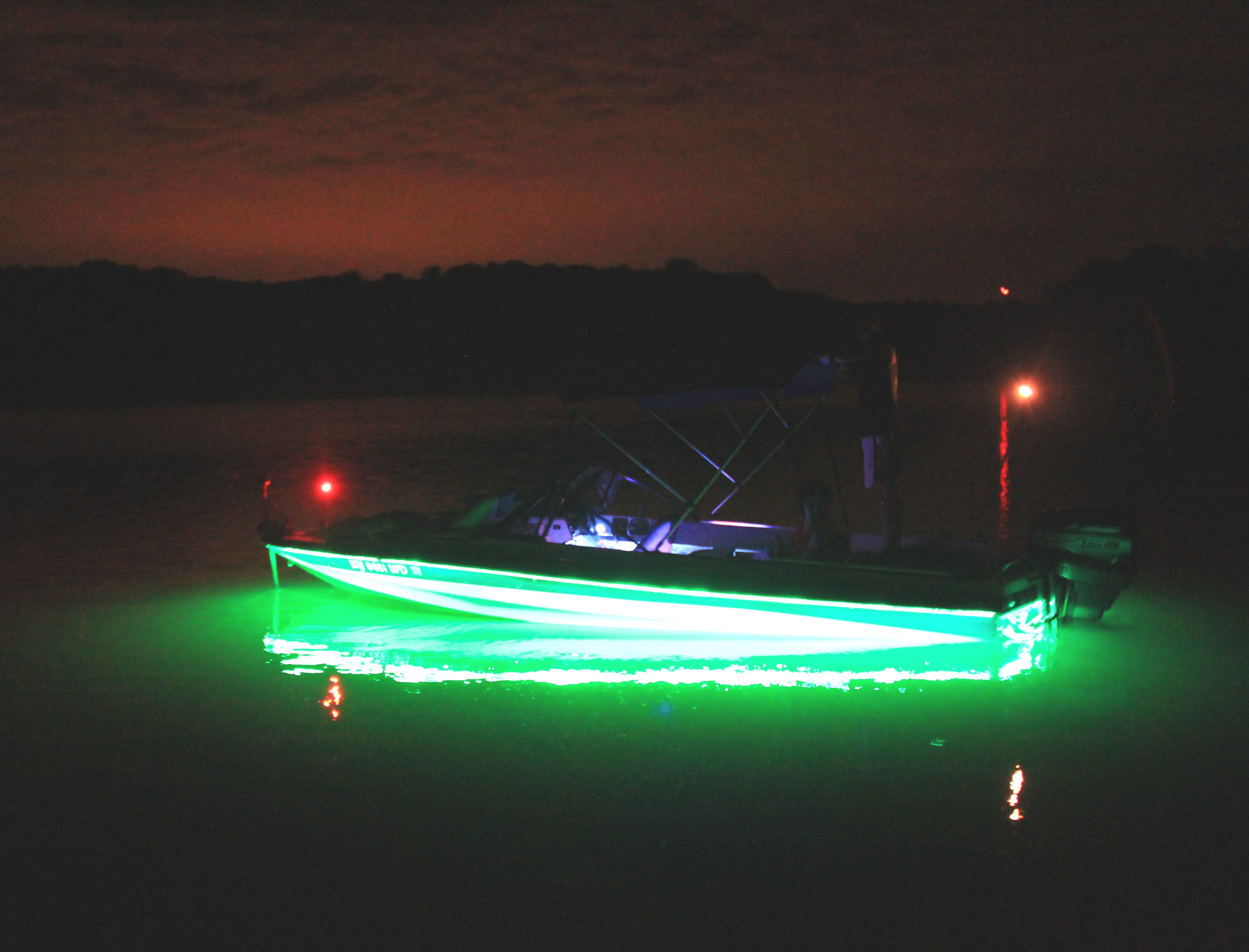night fishing boat lights